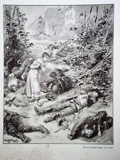 """c71-30 Gravure contes & récits d'Alsace - """"l'angélus"""" - Kauffmann"""