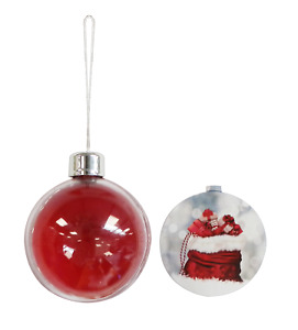 XB02 Red Bauble Decorations - PACKS OF 12 - 80mm diameter insert photo mounts