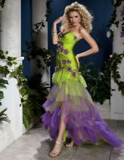 Panoply Prom Grad Dress 14400 Lime/Purple Size 10 NWT