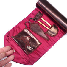 19th c. Shaker Leather Sewing Roll Up Needle Case w/ Pouch ~ AAFA