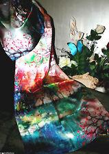 "100% Silk Scarf/175x50cm-Exquizite/Handmade*Silk-Art""Exotica Floral Songbrtf3*BR"