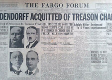 Adolf Hitler Gets 5 Years in Jail  Ludendorff Acquitted  April 1 1924 Very Rare