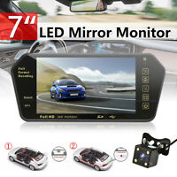 7'' Car Rear View Backup Mirror Monitor LCD +Wired Reverse LED Camera System Kit