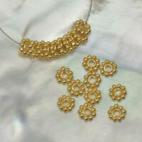 Lot 10 Daisy Bali Spacer 5 mm Beads 1.45 g Gold Vermeil 24K on Sterling Silver