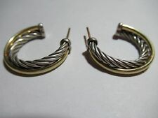 D. Yurman Sterling Silver Cable Earrings w/18k(yg)Crossover Band