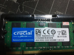 4GB 2GB DDR2 PC2-5300S 667 SODIMM 200Pin Laptop Notebook RAM For Crucial Lot UK
