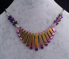 Rainbow Hematite Silver Plated & Purple Hematite Star Bead Necklace.Handmade