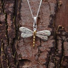"Sterling Silver 925 Dragonfly Pendant & 18"" Chain Necklace Pure Origins Sea Gems"