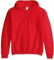 Gildan Men's Heavy Blend Fleece Hooded Sweatshirt G18500,, Red, Size Large J3S2