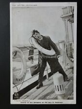 Charlie Chaplin AT SEA ON THE WAY TO AMERICA Red Letter Photocard c1915 C.133682