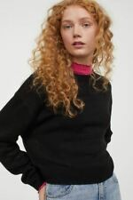Ex H&M Womens Ladies Black Round Neck Ribbed Hem Soft Knit Jumper