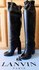 $2,345 NIB NEW LANVIN Chain-Embellished Black Knee Boots Sz38