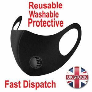 FACE MASK - UK SELLER FILTER VALVE washable reusable black Breathable Mask