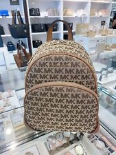 NWT Michael Kors Abbey Medium Signature Backpack Brown / Luggage