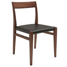 "19"" W Set of 2 Dining Chair Black Leather Seat Traditional Solid Wood Frame"