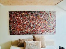 "Original Artwork in Abstract Jackson Pollock Style Large 70""x30"""