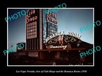 OLD LARGE HISTORIC PHOTO OF LAS VEGAS NEVADA, VIEW OF CLUB BINGO CASINO c1950