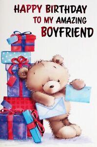 """Cute Bear With Presents & Cards """"AMAZING BOYFRIEND"""" Birthday Card"""