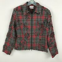 Joseph Ribkoff Long Sleeve Gray Red Plaid Zip Up Jacket Women's Sz. 10