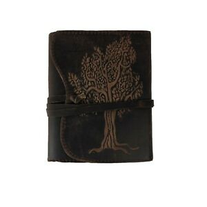 Hand Made Leather Bound Book/Journal Recycled Paper Tree of Life Brown 18 x14 cm