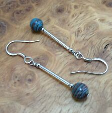 Crazy Lace Agate & 925 Sterling Silver - Blue Reddish/Brown 6mm - Drop Earrings
