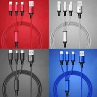 Universal 3 in 1 Multi USB Charger Sync Data Lightning Micro Type C Cable Phones
