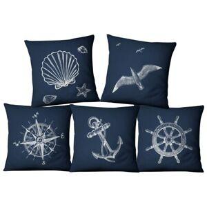 Mediterranean Navigation Rudder Compass Cushion Cover Marine Ocean Sea Horse