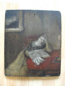 c.1825 Folk Art primitive painting portrait PA Dutch
