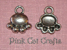 10 x Tibétain Argent Paw Print Chiens Chats Animal Charms Pendentifs Perles