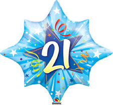 "Shining Star Blue 21 21st Birthday Party Decoration 28"" Shaped Mylar Balloon"