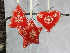 3 x Nordic Heart Star Tree Christmas Decorations Ceramic Gisela Graham Vintage