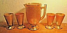 vintage Jeanette marigold carnival glass lemonade pitcher and four glasses