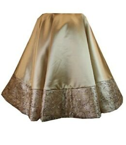 NWT  56-inch Round 2-toned Gold sequins embellishments Xmas Tree Skirt