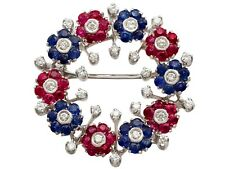 Vintage 1.48ct Ruby 1.42ct Sapphire & 0.95ct Diamond 18ct White Gold Brooch