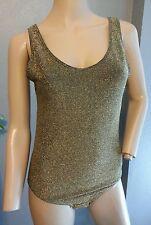 Vtg Saks Fifth Avenue Italy Gold Lame Metallic Black Bodysuit Onesie L