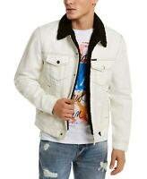 $148 GUESS Men's Denim Jean Sherpa Warm Fleece-Lined Winter Jacket White X-Large
