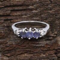 14k White Gold Estate 3 Stone Tanzanite & Diamond Ring Size 7