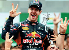 Sebastian VETTEL SIGNED Red Bull World Champion 16x12 HUGH Photo AFTAL COA