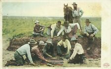 9235 Cowboys Shooting Craps Kendrick Phostint 1904 Postcard
