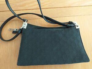 Gucci Monogram Canvas Black Bag handbag Clutch Bag USED