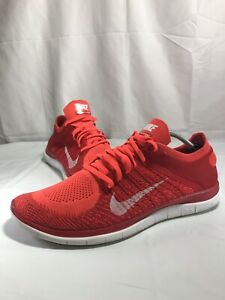 Nike Free 4.0 Flyknit Men Size 13 Bright Crimson White University Red 631053-601