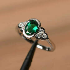 2Ct Oval Cut Green Emerald Solitaire Engagement Ring Solid 14K White Gold Finish