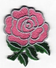 Iron On/ Sew On Embroidered Patch Badge Rose Flower Roses Bud Pink
