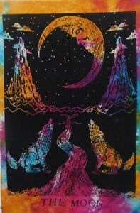 Crying Wolf Moon Cotton Tapestry Indian Wall Decor Poster Yoga Mat Table Cloth