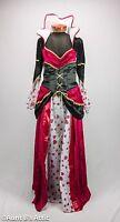 Queen Of Hearts Dress Red Black & White Velour 2 Piece Dress & Belt Costume M/L