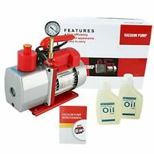 110V, 60Hz Rotary Vane Vacuum Pump Advanced 5 CFM 2 Stage 1/2HP HVAC with Gauge