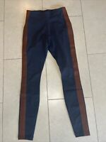 Athleta Navy Blue High Waisted Leggings With Brown Side Stripe Size XS