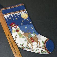 "Vintage Needlepoint Christmas Stocking Snowman Reindeer Rudolph 16"" Handmade"