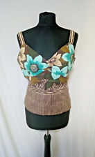 Kaliko Camisole Top, Linen, Floral, Browns/Aqua, Fully LIned, Fitted, Size 14