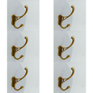 "6 COAT HOOKS door solid 100% brass furniture 486 WATSON age old style 4 "" DECOB"